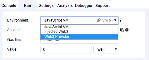 [Run]タブを開き、[Environment]のドロップダウンから「Web3 Provider」を選択